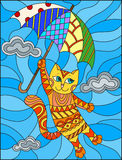Stained glass illustration with funny red cat flying on the umbrella on the background of sky and clouds. Illustration in stained glass style with funny red cat vector illustration