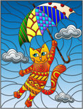 Stained glass illustration with funny red cat flying on the umbrella on the background of sky and clouds Royalty Free Stock Photo