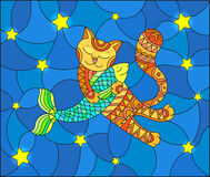 Stained glass illustration  with funny red cat hugging a fish on a blue background with stars. Illustration in stained glass style with funny red cat hugging a Royalty Free Stock Photos
