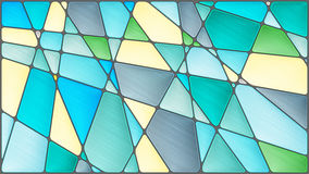 Stained glass illustration with geometric shapes,grey and blue tones. Abstract mosaic image with geometric shapes,grey and blue tones stock illustration