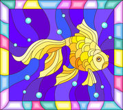Stained glass illustration  with gold fish on the background of water in bright frame. Illustration in stained glass style with gold fish on the background of Stock Photos