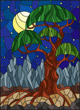 Stained glass illustration with green abstract tree on the background of starry sky, moon and mountains Royalty Free Stock Images