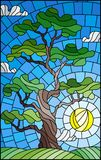 Stained glass illustration  with green tree on sky background and sun Royalty Free Stock Images