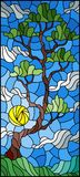 Stained glass illustration with green tree on sky background and sun Stock Photos