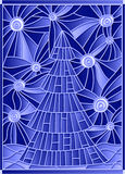 Stained glass illustration  image of a Christmas tree against the starry sky Royalty Free Stock Photography