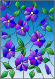 Stained glass illustration with intertwined abstract purple flowers and leaves on a blue background Royalty Free Stock Photo