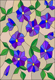Stained glass illustration with intertwined abstract purple flowers and leaves on a brown background Royalty Free Stock Images