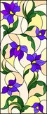 Stained glass illustration  with intertwined abstract purple flowers and leaves on a yellow background. Illustration in the style of stained glass with Royalty Free Stock Photography