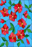 Stained glass illustration with intertwined abstract red flowers and leaves on a blue background Royalty Free Stock Images
