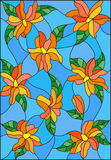 Stained glass illustration with intertwined lilies and leaves on a blue background Royalty Free Stock Photos