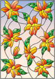 Stained glass illustration  with intertwined lilies and leaves on a sky background Stock Photography