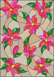 Stained glass illustration with intertwined pink lilies and leaves on a brown background. Illustration in the style of stained glass with intertwined pink lilies Royalty Free Stock Photo