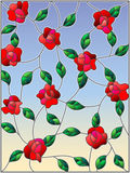Stained glass illustration with intertwined roses and leaves on a sky background Stock Photography