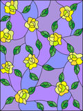 Stained glass illustration with intertwined yellow roses and leaves on a purple background Stock Photo