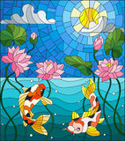 Stained glass illustration with koi fish and Lotus flowers on a background of the solar sky and water. Illustration in stained glass style with koi fish and Stock Image