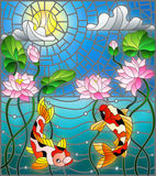 Stained glass illustration  with koi fish and Lotus flowers on a background of the solar sky and water. Illustration in stained glass style with koi fish and Royalty Free Stock Images