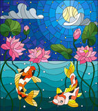 Stained glass illustration  with koi fish and Lotus flowers on a background of the starry sky and water. Illustration in stained glass style with koi fish and Stock Image