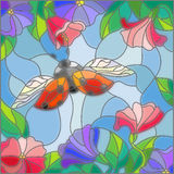 Stained glass illustration of a ladybug on a background of sky and blooming flowers. Illustration in stained glass style with bright ladybug against the sky Stock Photos