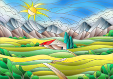 Stained glass illustration with landscape, building on a background of fields and mountains. Illustration in stained glass style landscape with a lonely house Stock Images