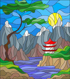 Stained glass illustration  landscape Japanese house on sky background, mountains and rivers Stock Photography