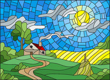Stained glass illustration  landscape with a lonely house amid field,sun and sky. Illustration in stained glass style landscape with a lonely house amid field Royalty Free Stock Images