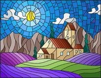 Stained glass illustration  landscape with a lonely house amid lavender fields, mountains and sky. Illustration in stained glass style landscape with a lonely Royalty Free Stock Image