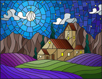 Stained glass illustration  landscape with a lonely house amid lavender fields. Illustration in stained glass style landscape with a lonely house amid lavender Stock Image