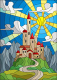 Stained glass illustration  landscape with old castle on the background of sky, sun and mountains Stock Image
