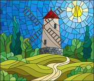 Stained glass illustration landscape with a  windmill on a background of sky and sun Royalty Free Stock Photo