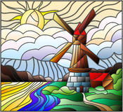 Stained glass illustration landscape with a  windmill on a background of sky and sun Stock Photography