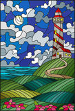 Stained glass illustration lighthouse on the backdrop of flowering fields against starry cloudy sky and moon royalty free illustration