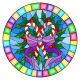 Stained glass illustration  with lollipops Holly branches and bow on blue background, round picture frame Royalty Free Stock Photography