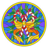Stained glass illustration with lollipops Holly branches and bow on blue background, round picture frame Royalty Free Stock Images