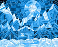 Stained glass illustration with a lone house on a background of mountains and the night sky Royalty Free Stock Photos