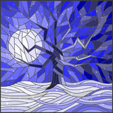 Stained glass illustration  with a lone tree against the bright moon and snow Stock Images