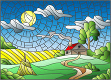 Stained glass illustration with a lonely house amid field,sun and sky. Illustration in stained glass style landscape with a lonely house amid field,sun and sky Royalty Free Stock Image