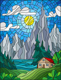 Stained glass illustration with a lonely house on a background of pine forests, lakes , mountains and day-Sunny sky with clouds. Illustration in stained glass vector illustration