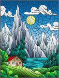 Stained glass illustration with a lonely house on a background of pine forests, lakes , mountains and day-Sunny sky with clouds. Illustration in stained glass stock illustration