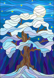 Stained glass illustration , lonely snow-covered tree against the night sky and the moon Stock Image