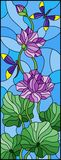 Stained glass illustration  with Lotus leaves and flowers, purple flowers and dragonflies on sky background. Illustration in stained glass style with Lotus Royalty Free Stock Photography