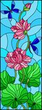 Stained glass illustration  with Lotus leaves and flowers, purple flowers and dragonflies on sky background. Illustration in stained glass style with Lotus Royalty Free Stock Photo