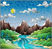 Stained glass illustration with the meandering river on a background of mountains, forests and Sunny sky Royalty Free Stock Photography
