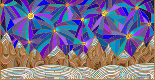 Stained glass illustration with mountain landscape on the background of the starry sky Stock Photography