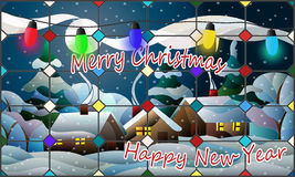 Stained glass illustration of New year and Christmas, rural landscape with greeting royalty free illustration