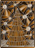 Stained glass illustration  for the new year,  Christmas tree on a background of  starry sky,tone brown,sepia Stock Image