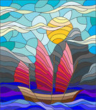 Stained glass illustration with old boat on the background of the sea, Sunny sky and shore Stock Photos