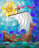 Stained glass illustration with old sailing ship on the background of sky, water and sun Stock Images