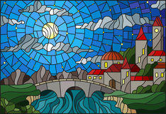 Stained glass illustration with the old town and bridge over a river with mountains in the background, the cloudy sky and moon Royalty Free Stock Photos