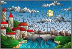 Stained glass illustration with the old town and bridge over a river with mountains in the background, the cloudy sky and sun Stock Images