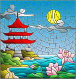Stained glass illustration  with Oriental landscape, the Eastern Church with the red roof against the cloudy sky and sun, a river Royalty Free Stock Photos